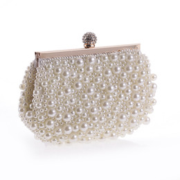 Wholesale Evening Cluth - White Gold Solid Beading Evening Bag Mini (<20cm) Interior Slot Pocket Hasp Women Pearl with Diamond Finger Cluth Evening Bag