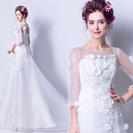 Wholesale White Fur Bride - Tulle White Mermaid Princess Lace Wedding Dresses Sexy African Sheer O neck Wedding Gowns Bride Dress Vestido De Noiva