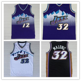 Wholesale Mesh Embroidery - Cheap Utah Double 32# Karl Malone 12# John Stockton Jerseys Mesh Embroidery Logos Karl Malone Jersey Free Shipping
