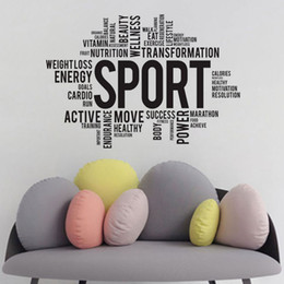 Wholesale Packaging Quotes - Sport Wall Stickers Quotes PVC Removable Self Adhesive Wall Decals Gym Wall Decor Sticker