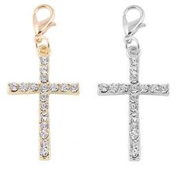 Wholesale Crystal Cross For Jewelry Making - 20PCS lot Silver Gold Plated Crystal Cross Floating Pendant Charms Fit For Magnetic Floating Locket Jewelry Making