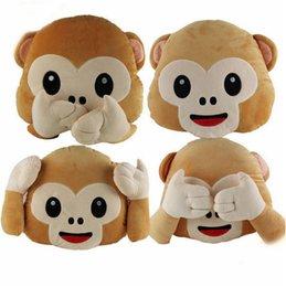Wholesale Cartoon Monkey Pillow - 4 Design Emoji Pillow 35cm Cartoon Monkey Plush Toy Cushion Home Decoration Ultra Soft Toy Gift Lowest Price