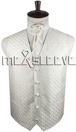 Wholesale Men S Ties Sets - Men's ivory Dress Vest ascot Tie Set for Suit or Tuxedo