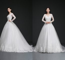 Wholesale Crystal Ball Sale Cheap - Lace Ball Gown Wedding Dresses Long Sleeves Backless Cheap Wedding Gowns with Appliques Vestido de novia Best Sales