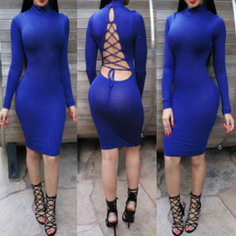 Wholesale Clothes Evening Long - Vestidos Casual Warm Clothing Nigth Club Midi Pencil Bodycon Sexy Backless Mesh Cross Evening Party Bandage Dresses