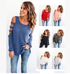 Wholesale Tee Shirt Femme Sexy - Summer Women Fashion Tops Ladies Tee Shirts Casual Loose Long Sleeve Cold Shoulder T-shirt Femme Sexy Off the Shoulder Tops for Women