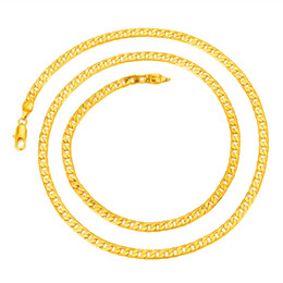 """Wholesale Cuban Link Gold Chains Wholesale - Wholesale- Hot Sale Men Gold-color Cuban Curb Chain Necklace Jewelry 24"""""""