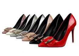 Wholesale Medium Documentary - The new patent leather fashion sexy pointed high-heeled shoes buckle documentary shoes red thin women free shipping