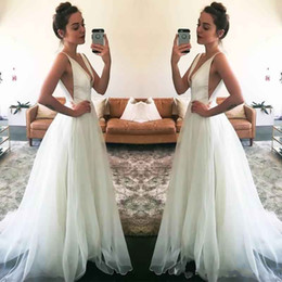 Wholesale Long Black Chiffon Skirt Elegant - Simple Elegant Ivory Cheap Wedding Dresses 2017 New Sexy Deep V Neck Sleeveless A Line Chiffon Garden Beach Bridal Gowns Sexy Backless