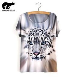 Wholesale Tiger Bells - Wholesale- Summer Style White Tiger 3D Print T-Shirt Women Summer Clothes 2017 Round Collar Women T Shirt Female Tops