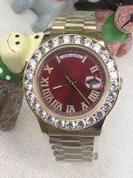 Wholesale Big Dial Men Watch Steel - 2017 hot sale Luxury brand watch men red dial roman numeral marker big diamond bezel gold automatic watch men wristwatches free shipping