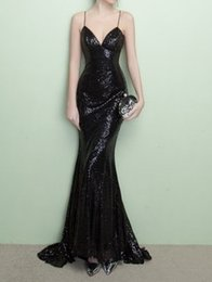 Wholesale Long Black Sequin Dresses - Cheap under 100 Mermaid Evening Dresses 2017 Black Spaghetti Straps Sequins Backless Long Train Prom Gowns
