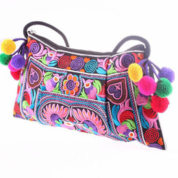 Wholesale Handmade Fabric Bags - Wholesale-2016 Hot sale Embroidered bags National trend handmade fabric embroidery one shoulder cross-body women messenger Clutch handbag