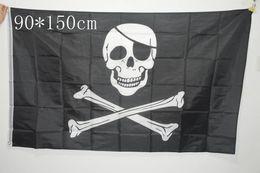 Wholesale pirate black flag - 90x150cm Big Black Jolly Roger Pirate Flags Halloween Skull Crossbones Swords Black Flags Halloween Props 2 Designs