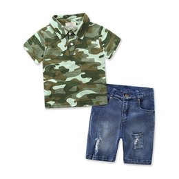Wholesale Boys Jeans Pant - 2017 Boys Childrens Clothing Sets Camouflage T-shirts Jeans Shorts Pants 2Pcs Set Summer Cotton Boy Kids Boutique Enfant Clothes Outfits