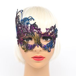 Wholesale Wholesale Carnival Party - Wholesale- Mysterious Angel 5 Colors Phoenix mackn Sexy Mask Halloween Party Lace Masquerade Hollow Masque Fancy Dress Venetian Carnival