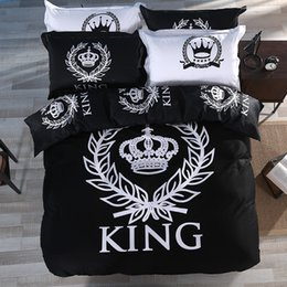 Wholesale King Size Duvet Covers - Wholesale- Fashion KING Crown 100% Cotton Duvet Cover Set with Bed Flat Sheet and Pillow Case Black & White Single Queen King Size Bedding