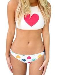 5411e763570 Bikini High waist Swimsuit heart-shaped pattern sexy hanging neck