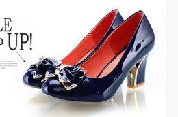 Wholesale Sexy Shoes Small Heels - Sexy bowknot is thick with high seasons with big yards for women's shoes small yards shoes of shoes