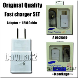Wholesale Eu Plug Cable - Original Quality Fast Charger Set Adapter USB cable 2 in 1 charging Wall Plug set UK US EU For S6 S7 Note 4 5 With retai box