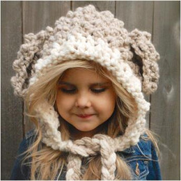Wholesale handmade knit hats kids - 2 Colors Baby Girls Hats Handmade Kids Winter Hats Wrap Lamp Caps Cute Autumn Children Wool Knitted Hats CCA7495 20pcs