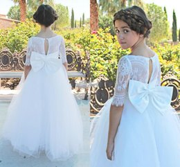 Wholesale Short Wedding Dress Big Bows - Half Long Sleeve Beautiful Flower Girl Dresses for Wedding 2017 Vintage Lace Princess Tulle Skirt Kids Party Gowns with Big Bow Custom