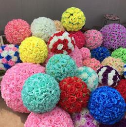 Wholesale Marketing Orange - Rose balls 6~24 Inch(15~60CM) Wedding silk Pomander Kissing Ball decorate flower artificial flower for wedding garden market decoration