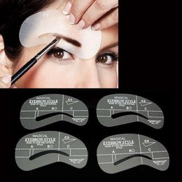 Wholesale Magic Draw - 4pcs Styles Magic Eyebrow Stencil Set Grooming Drawing Card For Dashing Eyebrows Eye Brow Shape Template Make Up Tool C1-C4 A1-A4