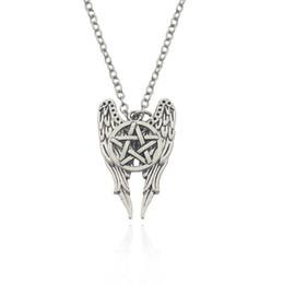 Wholesale Ward Off Evil - Movie Jewelry Supernature Geometry Wings Amulet To Ward Off Evil Pentagram Necklace Alloy Necklaces & Pendants Wholesale