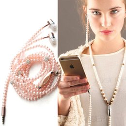 Wholesale Necklace Earphones - Diamond Pearl Earphones 3.5mm Necklace In Ear Wired Headphone With Mic Fashional Gift Girls Earbuds Heasets For Iphone Samusng Mobile Phone