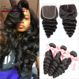 """Wholesale Bella Weave - 3 Bundles Loose Wave Peruvian Brazilian Virgin Hair Extensions With 1pc Middle Part Top Lace Closure 4""""x4"""" Greatremy Bella Factory Outlet"""
