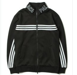 Wholesale Cardigan Couple - Palace jacket Kabye hip hop male Supremitied jacket ma1 Palace Skateboard three bars stripe Couple cardigan sweater