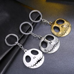 Wholesale Skull Head Chain - Skeleton Movie Key Chains Jewelry The Nightmare Before Christmas Pumpkin King Santa Jack Keychain Skull Head Skellington Men Key Chain