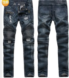 Wholesale American Apparel Style - Slim Fit 2018 Spring New Jeans BIKER JEANS Male Autumn Fashion Ripped Pants Mens Clothing Apparel