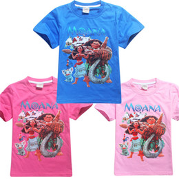Wholesale Cartoon Tees For Kids - Wholesale Kids Summer Cotton T-shirts Moana T-shirts for Boy and Girl Children Cartoon Clothing Kids Tees 3 colors Free shipping LA365