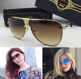 Wholesale Square Shaped - Brand design sunglasses new 2017 Decade Two sunglasses women brand designer metal square shape retro men design Usher oversize gold plated