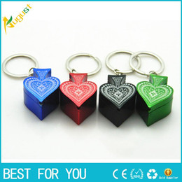Wholesale Poker Key - Hot sale New style metal pipe Poker Peach heart pipe key chain portable smoking pipe aluminum alloy pipe