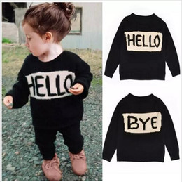 Wholesale Toddler Girls White Jacket - Baby HELLO Sweater Girls Letter Sweaters Toddler Long Sleeve Knit Coat Winter Fashion Pullover Cotton Outwear Jackets Cardigans Jumper B2356