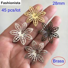 Wholesale 45 Diy Jewelry - 45 pcs Big Brass Filigree Flower Charm Bead Caps 28mm,Hollow Brass Flowers,DIY Crafts & Arts & Jewelry Findings
