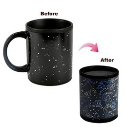 Wholesale Ceramic Water Cooler - Black Caneca Chameleon Coffee Cups 330ml Night Star Ceramic Cup Fantastic Star Sign Mug Tea Coffee Juice Water Cups Cool Heat Changing Color