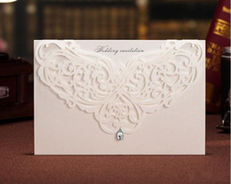 Wholesale Hollow Back Wedding - Unique Hollow Crystal Lace Wedding Invitation Card With Supplies Free Printable Cards Foil Stamping Vintage Wedding Invitations