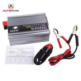 Wholesale portable ac inverter - Wholesale- 500W WaDC 24V to AC 220V + USB Portable Voltage Transformer Car Power Inverter