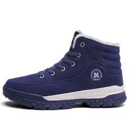 Wholesale Warm Waterproof Winter Sneakers - Men Winter Warm Snow Boots Fashion Sport Shoes Rubber Waterproof Ankle boot Cowskin Suede Leather Shoes Climbing Outdoor Sneaker Botas