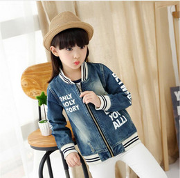 Wholesale Cowboy Costume Jeans - High quality autumn style cowboy girl jeans blouse costume destroyed denim jacket children outwear fancy teen girls jackets
