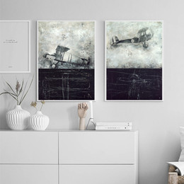 Wholesale Canvas Painting Aircraft - 2 paintings black and white aircraft home decoration painting wall art painting fashion mural canvas printing poster size 40cmx50cm 2