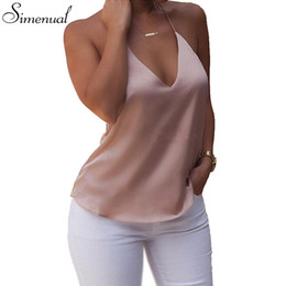 Wholesale Hot Sexy Ladies Wholesale Clothing - Wholesale- Glossy sleepwear style summer women tops 2016 deep V neck sexy hot ladies camis backless slim tank top shirt fashion new clothes