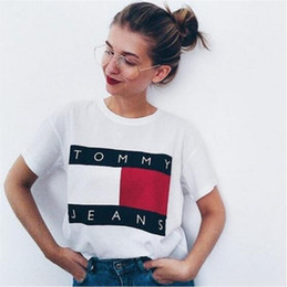 Wholesale High Fashion Jeans - 2017 High-quality Jeans T Shirts women Casual Cotton Short Sleeve Big Flag Logo Printed Tee t-shirt high street men Hip Hop tshirt
