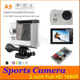 "Wholesale Sport Camera Hd Underwater - A9 Full HD Action Camera Diving 30M 2"" 120° 30M Waterproof Sports Cameras 1080P HD Helmet Underwater Sport DV Car DVR + retail box 10pcs"