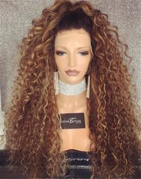 Wholesale Kinky Free Parting Lace Wig - #1b#27 Full Lace Human Hair Wig Kinky Curly Brazilian Hair Free Part 250% Density Non Remy Wig With Pre Plucked Natural Hairline