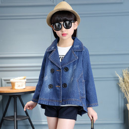 Wholesale Cleaning Suit - 2017 Spring new girl baby jacket, KIDS jacket Han edition suit students' cloak denim fresh and clean style jacket